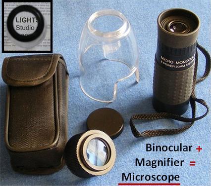 Magnifier, Loupe, Monocular, Microscope Combo